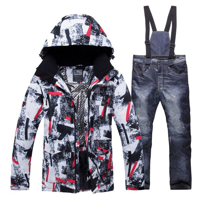 2019 New Winter Men Thermal Ski Suit Male Windproof Waterproof  Skiing and Snowboarding Sets Jacket Pants Suit Snow CostumeSnowboarding  Sets