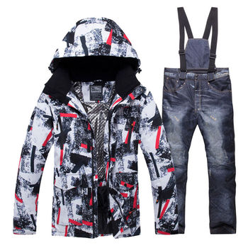 2019 New Winter Men Thermal Ski Suit Male Windproof Waterproof Skiing and Snowboarding Sets Jacket Pants Suit Snow Costume