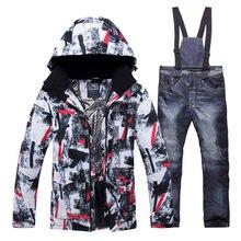 2020 חדש חורף גברים תרמית חליפת סקי זכר Windproof עמיד למים סקי וסנובורד סטי מעיל מכנסיים חליפת שלג תלבושות