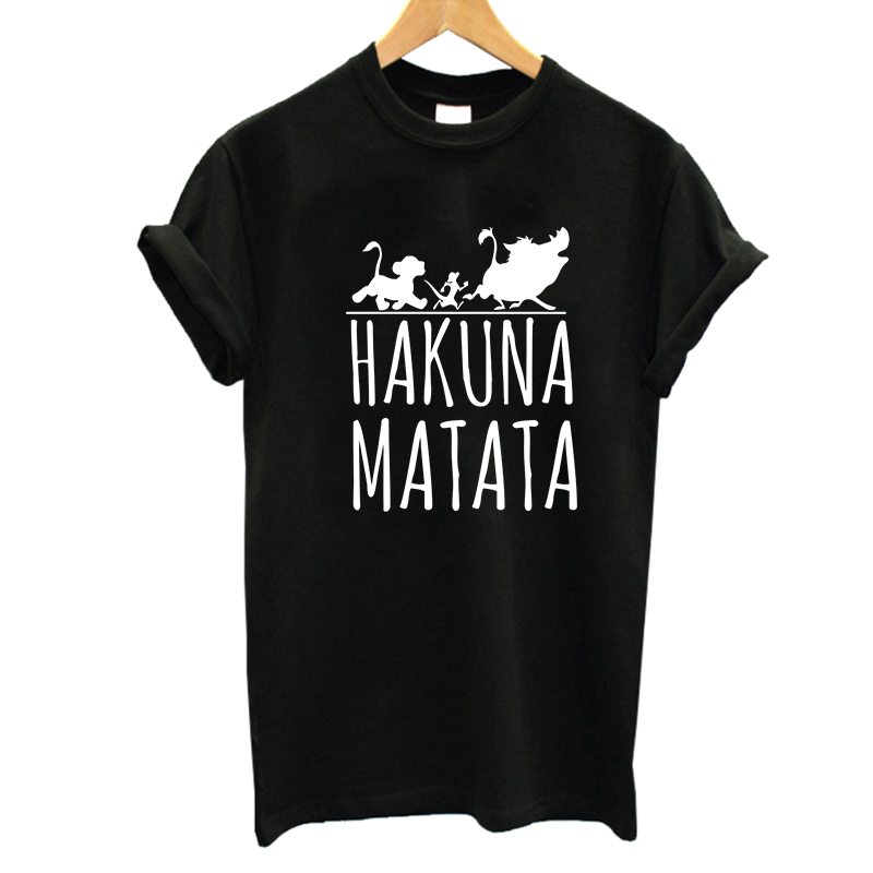 2017 Hakuna Matata Letter Print Tee Shirt Homme Summer Women Short Sleeve T Shirt Plus Size Women Casual 100% Cotton Top