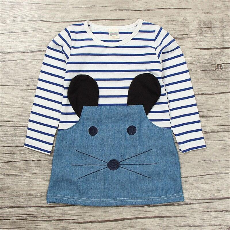 Children Girl Dress Baby Girl Denim Dress Long Sleeves DressCartoon Cute Mouse Long Sleeve Children Striped Patchwork Clothing
