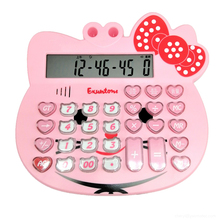Large Cartoon Cute Pink Cat Head Voice Report Number Calculator Non-Fading Keys Can Play Piano Pronunciation Office Calculator