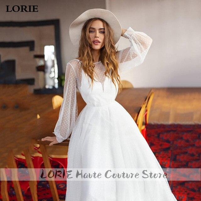 LORIE A-line Beach Wedding Dress Puff Sleeve Sweep Dot Tulle Bridal Dress Custom Made Princess Wedding Gowns Boho Plus Size 1