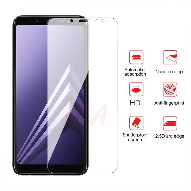 3Pcs Full Cover Protective Glass For Samsung Galaxy A5 A8 A7 Tempered Glass For Samsung A6 A9 J4 J6 PLus 2018 Screen Protector