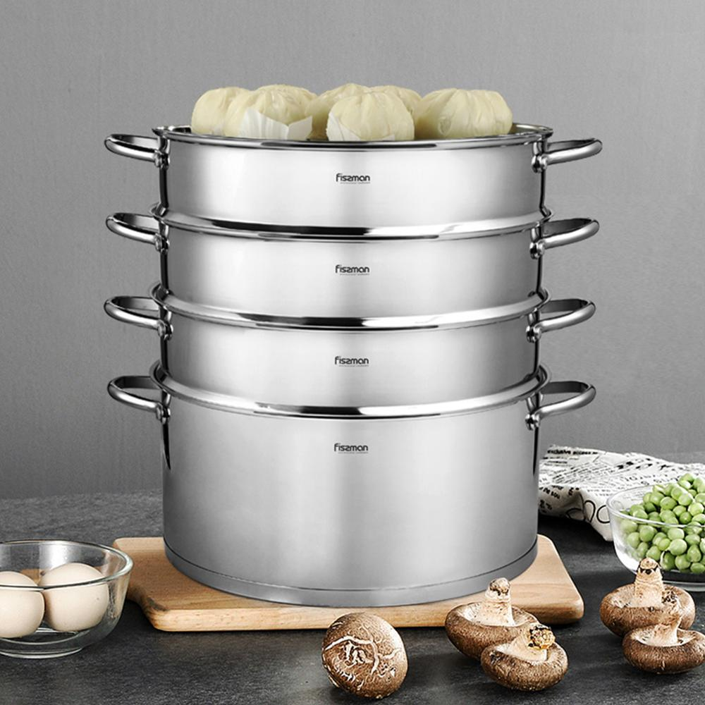 Image 2 - FISSMAN BARAKAT Series 304 Stainless Steel Mantou Stock Pot with 3 Steamer Inserts and Glass LidSoup & Stock Pots   -