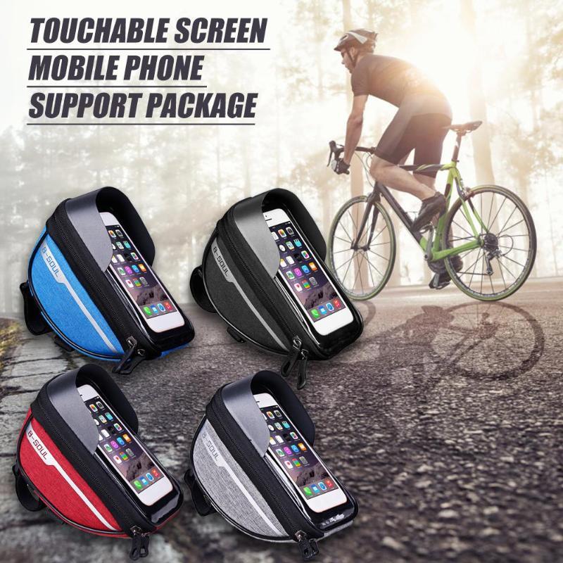 Велосипедная велосипедная трубка на руль, сумка для мобильного телефона, чехол-держатель, чехол Pannier, водонепроницаемый, с сенсорным экрано...
