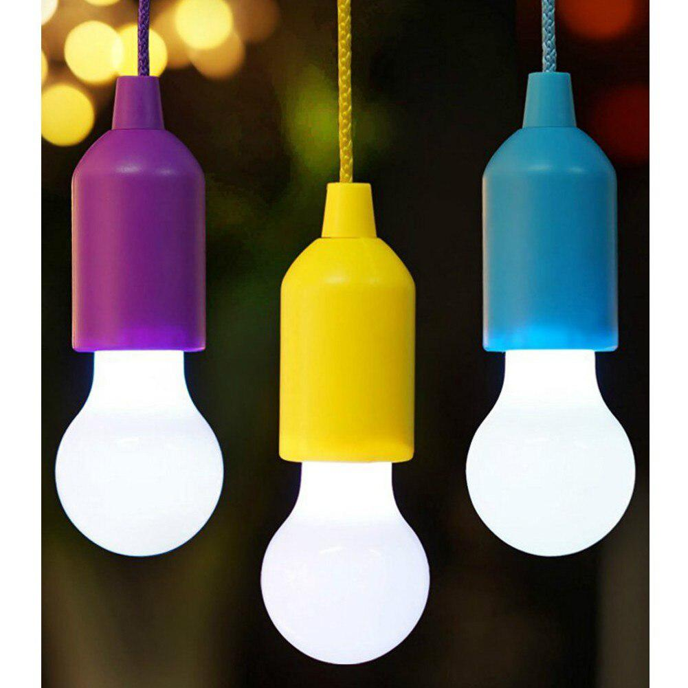 Portable Retro Style LED Pull Cord Light Bulb Outdoor Garden Camping Tent Hanging Night Lights Lamp Battery Lighting White Light