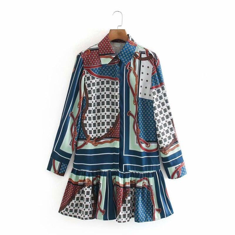 ZA 2020 New Fashion Women 3D print Folds chiffon shirt Blouses Turn-down Collar Long Sleeve Shirt Casual Loose Tops 7