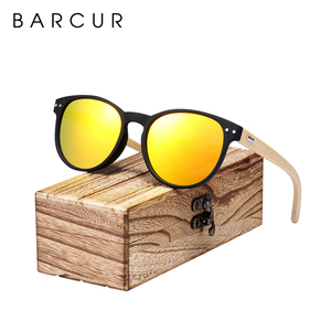 Image 1 - BARCUR Vintage Round Sunglasses Bamboo Temples Polarized Wood Sun glasses Men Women Shades oculos