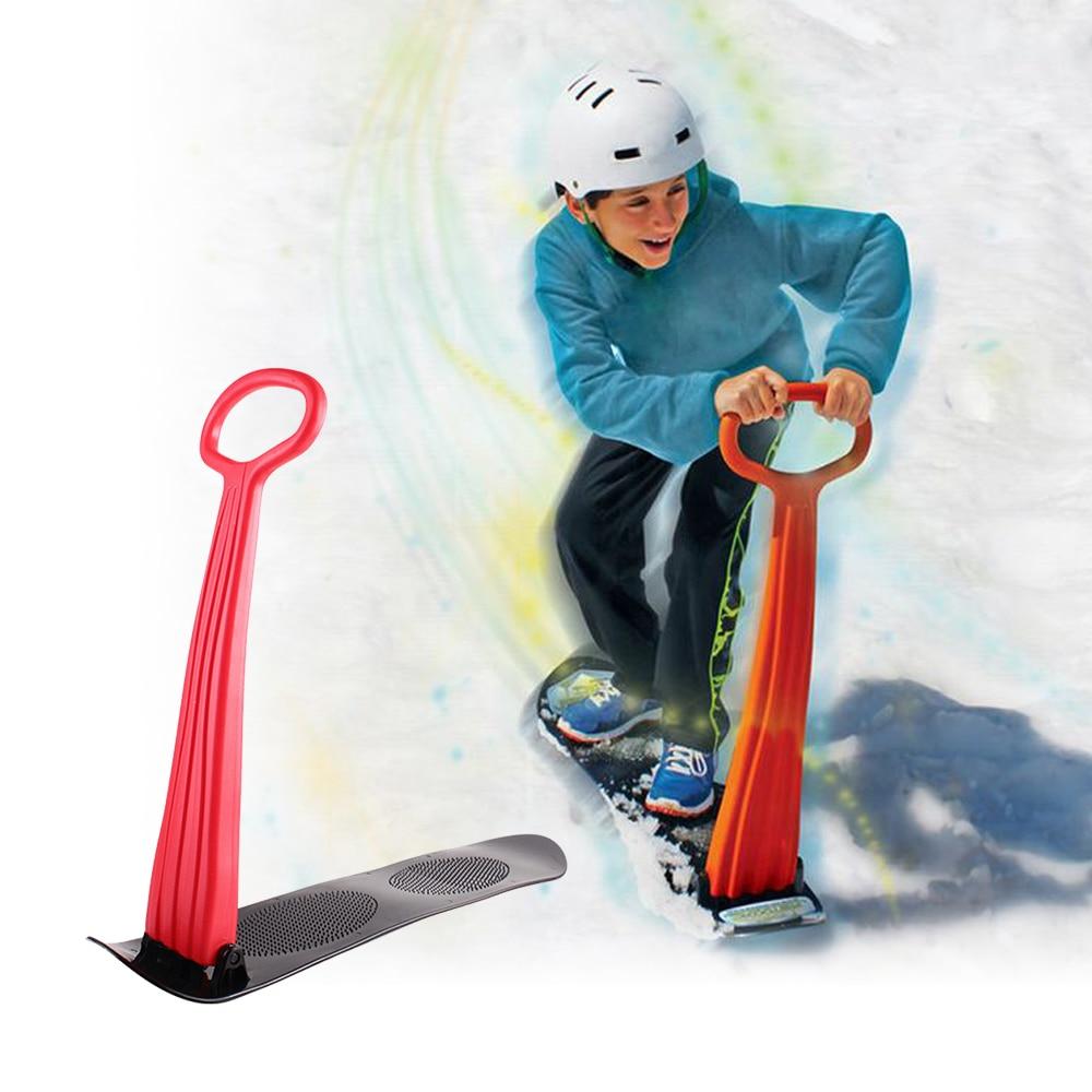 Folding Sliding Ski Snowboard Portable Skating Car Snow Sled Winter Outdoor Games with Grip Handle Kids Children Snow