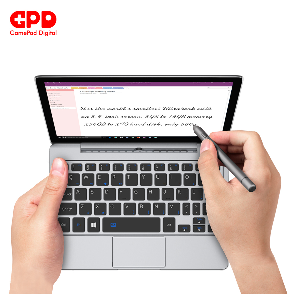 New Arrival GPD P2 Max 8.9 Inch Touch Screen Inter Core Celeron 3965y 8GB 256GB Mini PC Pocket Laptop Notebook Windows 10 System