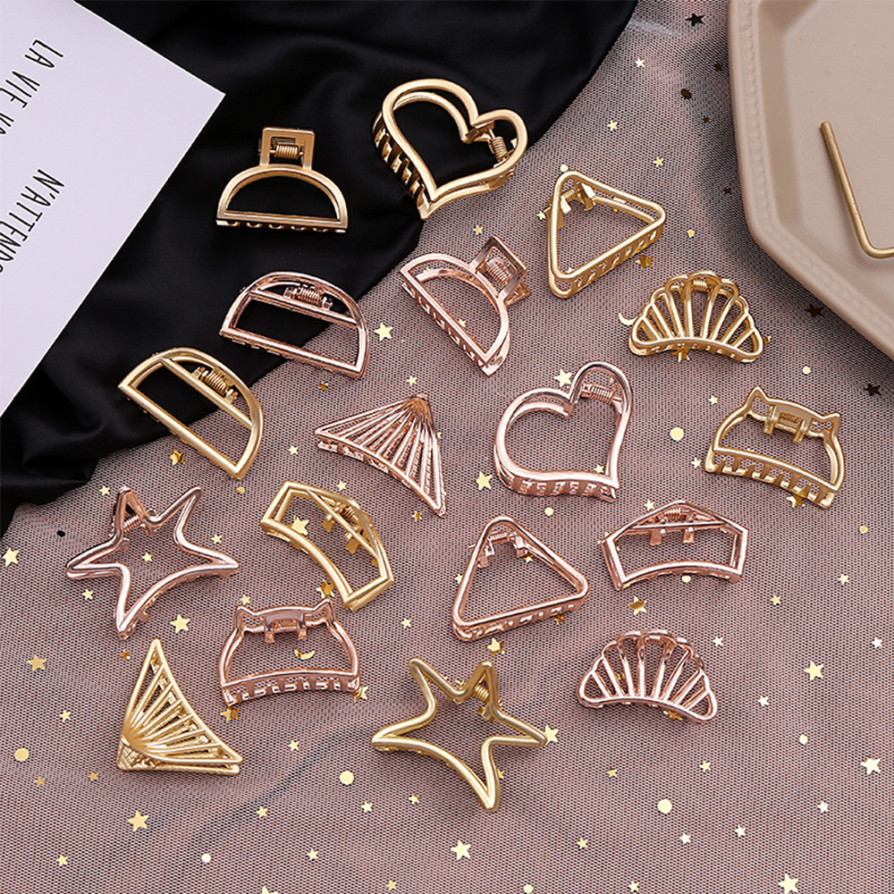 New Fashion Women Gold Geometric Simple Alloy Hollow Hair Clips Hairpin Hair Holder Claw Vintage Hair Accessories Styling Tools