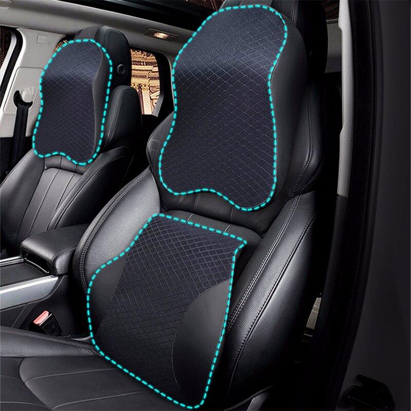 3D memoria espuma coche almohada PU cuero asiento cojín cuello almohada cintura Lumbar soporte Universal respaldo Lumbar Auto Accesorios