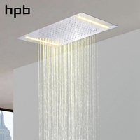 HPB 500*360mm Ceiling Mounted Chrome Plate 304 Stainless Steel Square Big Led Rainfall Rain Top Shower Head L 50X36D
