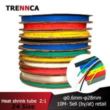 0.6 0.8 1 2 3 4 5 6mm tubo shrinkable térmico isolado sleeving tubing pvc shrinking tubo fio envoltório cabo à prova dwaterproof água encolhimento 2:1