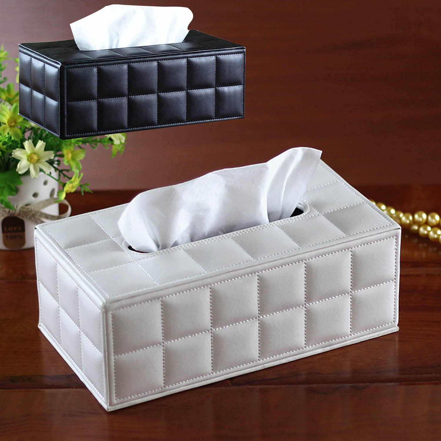 Behogar Facial Tissue Box Cover PU Leather Hotel Car Rectangle Container Towel Napkin Tissue Case Holder Home Office Supplies