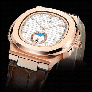 Image 4 - PLADEN Unique Mens Luxury Big Brand Watch Chronograph Moon Phase Male Watch Golden Swim Geneva Watches Zegarek Meski #PL1009