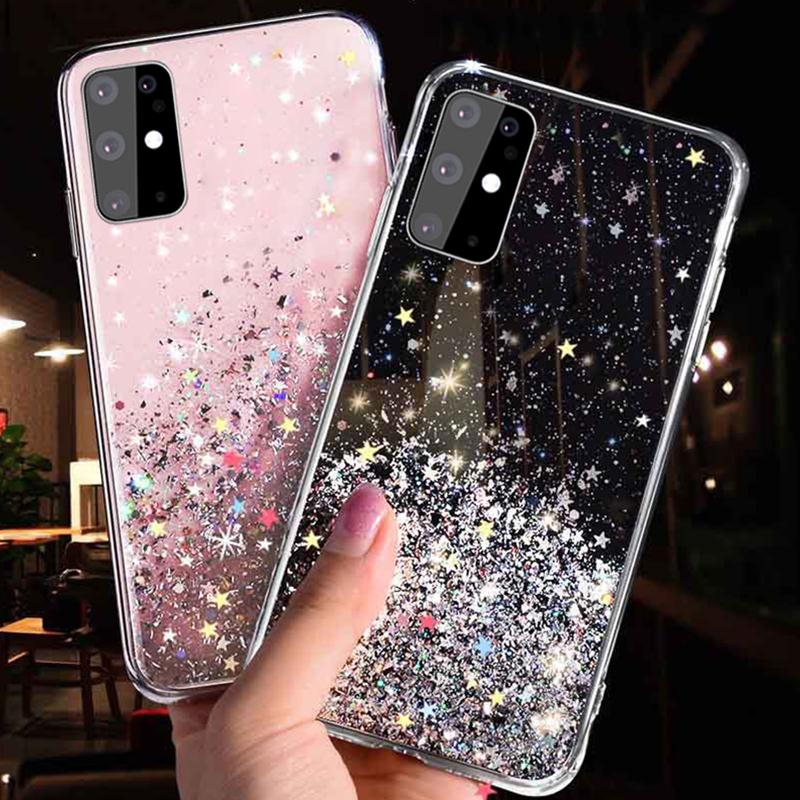 SUYACS Gradient Glitter Star Phone Case For Samsung Galaxy A51 A71 A50 S10 S9 S8 Plus S10e Note 10 Soft Epoxy Phone Back Cover(China)