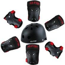 купить New Protective Gear Sets Elbow Leg Knee Brace Pads Helmet Bicycle Skateboard Ice Skating Roller Skate Protect Anti-fall For Kids дешево