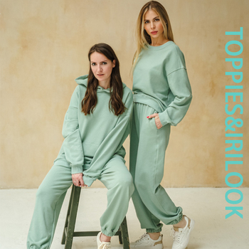 Toppies 2021 Women Hoodies and Sweatpants White Tracksuits Female Two Piece Solid Color Pullovers Jacket Lounge Wear 3