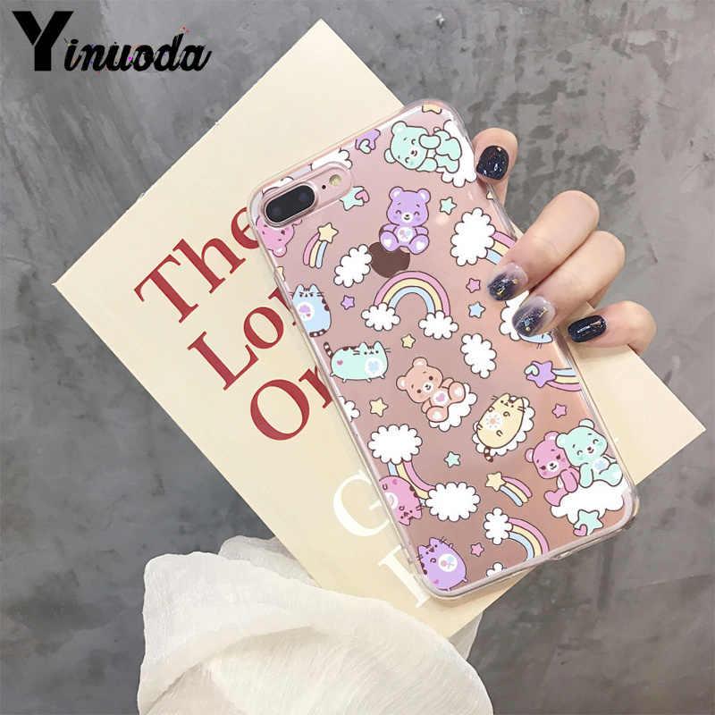Yinuoda INS corée mignon Anime bonbons arc-en-ciel Cear heureux ours coque de téléphone pour Apple iPhone 8 7 6 6S Plus X XS max 5 5S SE XR couverture