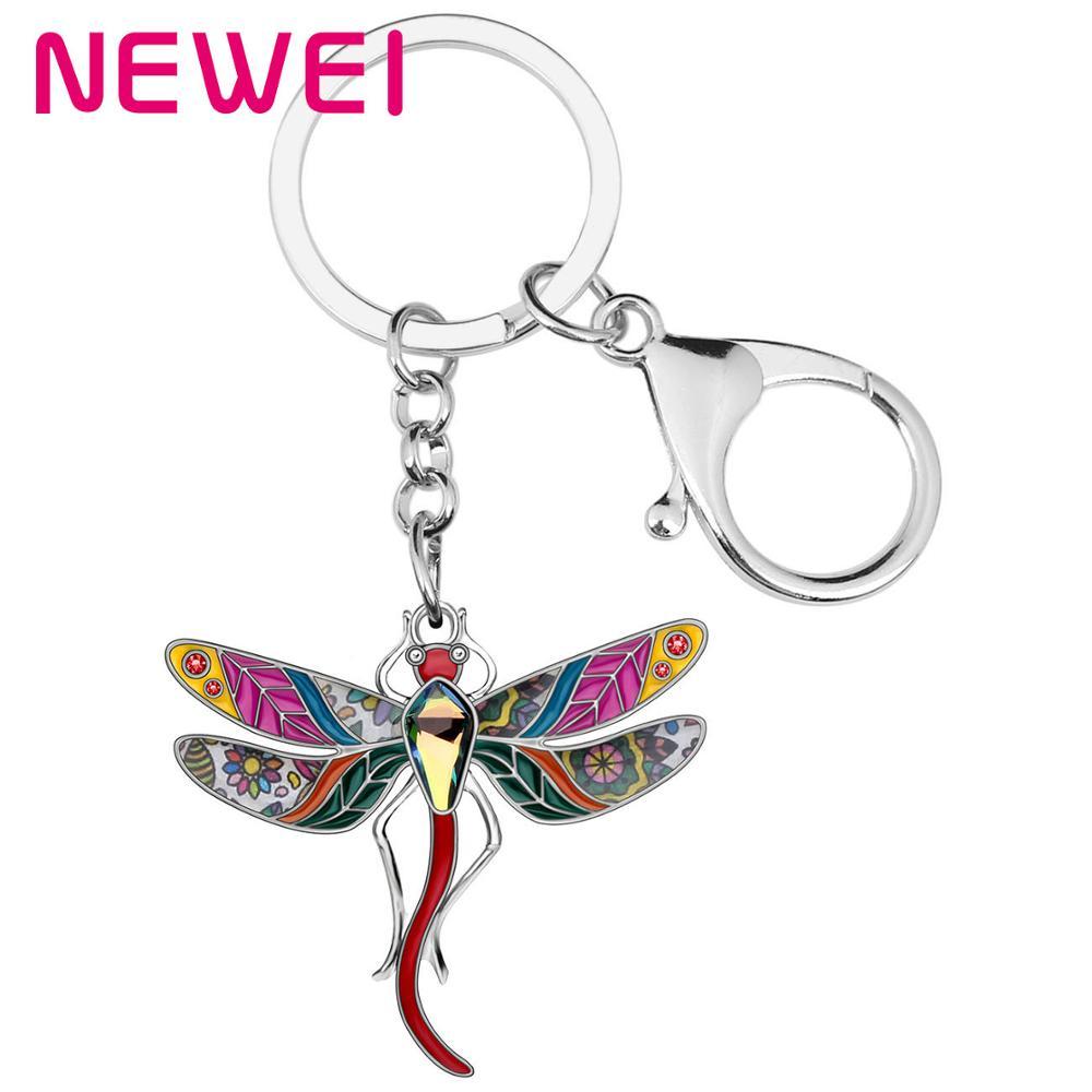 Dragonfly Crystal Rhinestone Keyring Charm Purse Bag Key Ring Chain Christmas