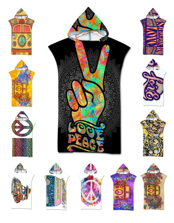 Ethnic Mandala Flower Peace Love Car Hooded Surfing Swim Bath Beach Towel Poncho