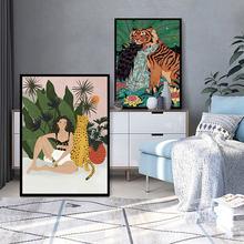 Póster de Tigre y Estilo bohemio para chica, pintura en lienzo de Animal en la pared, arte nórdico de guepardo, imagen moderna para decoración para sala de estar