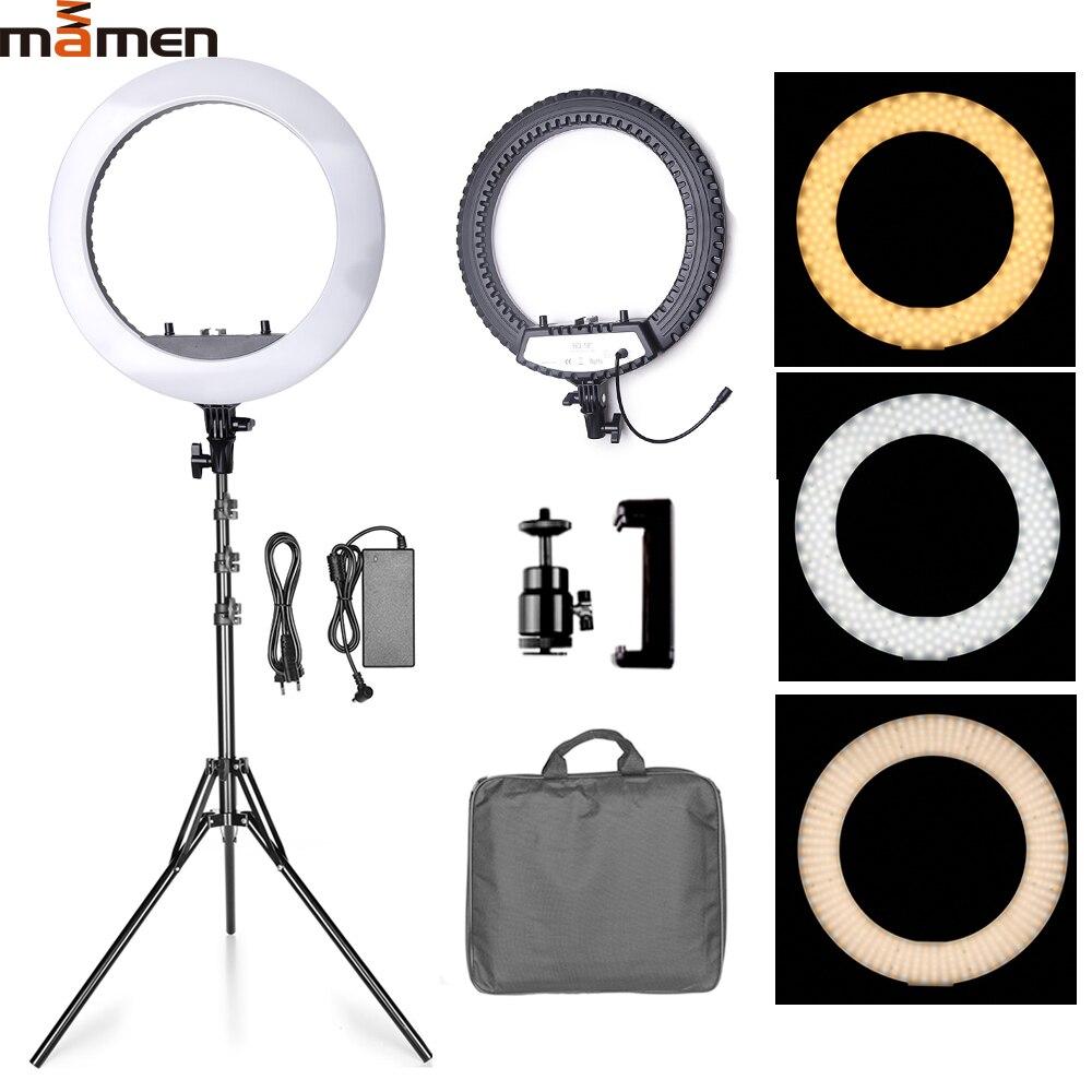 MAMEN 18 pouces lumière annulaire 45cm LED photographie Studio Photo remplissage lumière lampe vidéo pour Youtube maquillage en direct avec sac de transport trépied