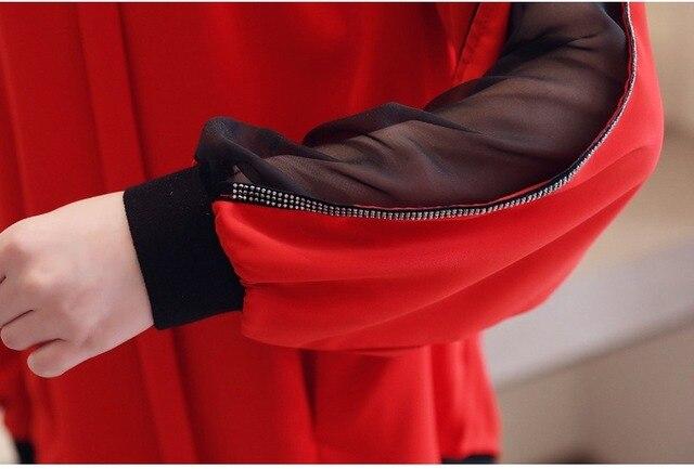 Women chiffon blouse New 2019 Fashion Casual Hollow out Chiffon shirt Elegant Slim Stand collar Women tops blouse 6