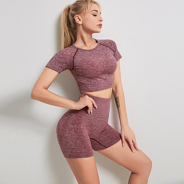 Seamless Gym Set Women Fitness Clothing Short Sleeve Crop Top High Waist Running Shorts Workout Clothes Sportswear 2pcs set