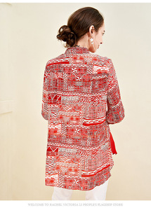 Image 5 - 100% ピュアシルクの女性の滑走路シャツターンダウン襟長袖プリントファッションシャツブラウス