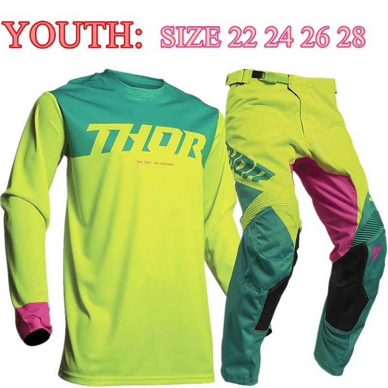 Size 22 24 STREAM FOX 2020 Top Youth Motocross Gear Set MX Moto Jersey Set For Children ATV Child Jersey And Pant title=
