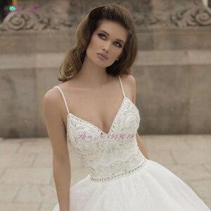 Image 4 - Julia Kui robe de mariée élégante avec des perles, robe de mariée, avec traîne Court, bretelles Spaghetti, dos nu, modèle 2020