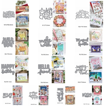 Wishes Hello Happy Birthday Sentence Alphabet Decorative Maple Snow Mountain Metal Cutting Dies Scrapbook Cards Embossing Paper