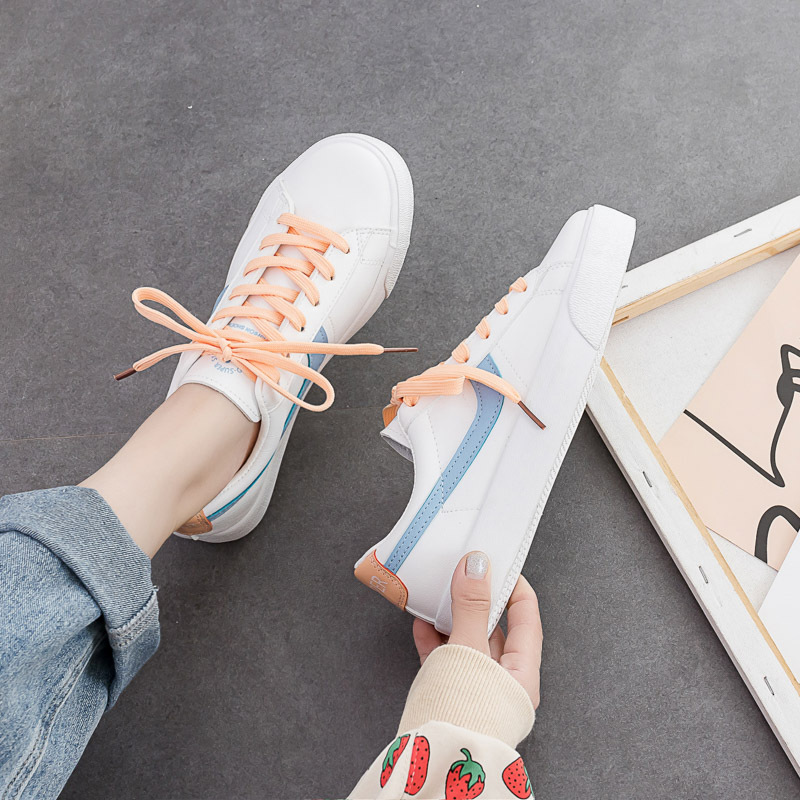 Women Sneakers Pink Green Mixed Colors Sweet Fashion Casual Shoes Students Girls Lace Up Low Leather Shoes 35-40 White Shoes