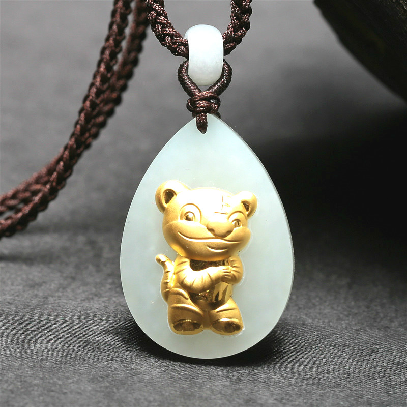 Chinese Exquisite Natural hand engraving White Jade Pendant Amulet tiger