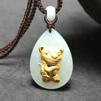 Natural hetian chino pendiente de jade blanco Zodíaco Tigre mosaico oro collar de joyas hermosas talladas moda amuleto regalos