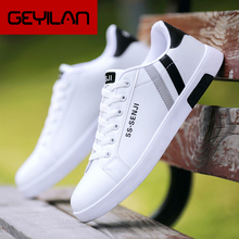 Men Flat Shoes Lace-up Comfortable White Shoes For Male Top