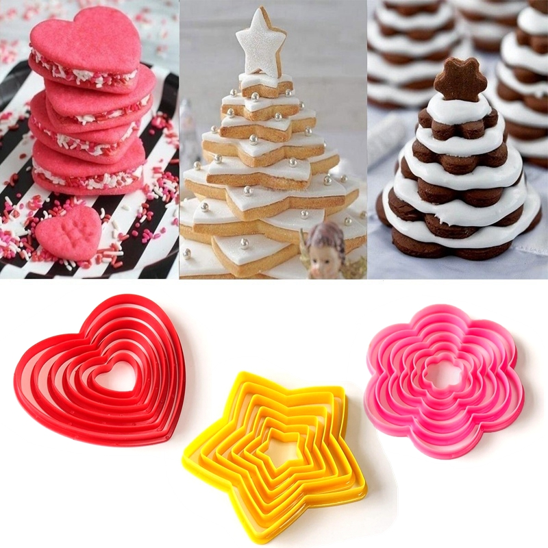 6pcs 3D DIY Heart Star <font><b>Flower</b></font> Christmas Tree Cookies <font><b>Cake</b></font> <font><b>Cutter</b></font> Biscuit Mold Set Baking <font><b>Tool</b></font> for Home New Year Party <font><b>Decoration</b></font> image