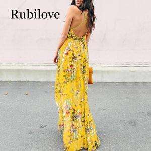 Image 5 - Женское летнее платье макси с V образным вырезом и открытой спиной