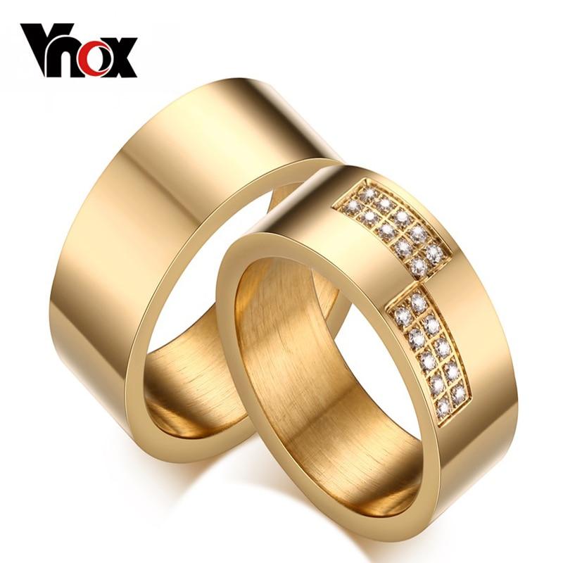 Vnox 8mm Gold color Wedding Ring for Women Men AAA CZ Zircon Stone Promise Jewelry