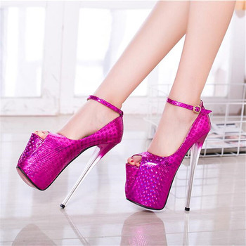 New pattern Extra large code women shoes 19cm Super thin High Heels shoes Waterproof 7-9CM Peep Toe Stage performance 34-49 50