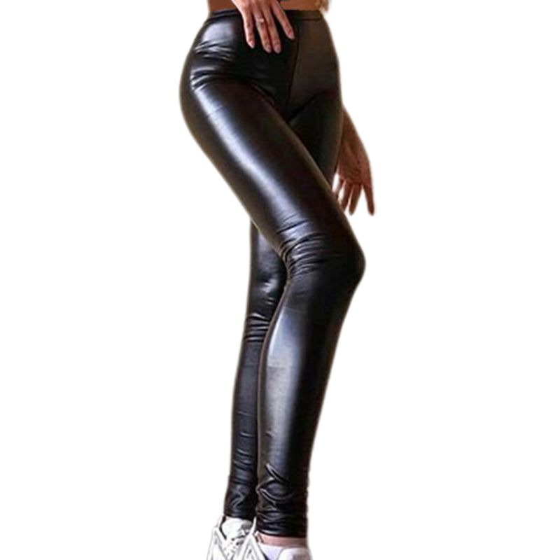 Womens Plus Size Faux Leather Pants Black High Waist Sexy Skinny Stretchy Trousers Tights For Club Party Casual S-5XL
