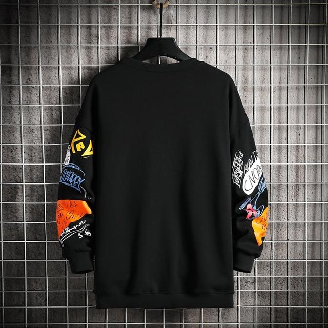 SingleRoad-Sudadera de cuello torcido para hombre, ropa informal japonesa de gran tamaño, Hip-Hop, Sudadera con capucha para hombres, color negro, Harajuku, 2021 2