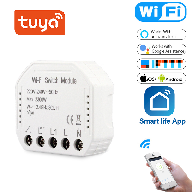 Tuya Smart Light Switch Wifi Diy Breaker Module With Alexa Echo Google Home 1 2 Way Smart Life Tuya APP Remote Control Works