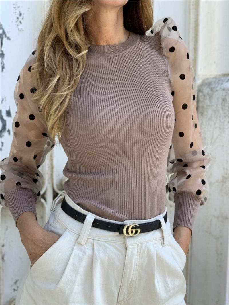 2019 Woemn Autumn Top Tee Mock Neck Polka Dot Puff Sleeve Mesh Insert Ribbed Top Tee Kintting Warm Fashion Streetwear