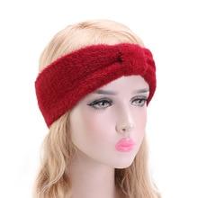 New soft rabbit fur headband Hair Accessories Outdoor Ear Warmer Autumn Girls soild Headband Turban Winter Warm Fashion