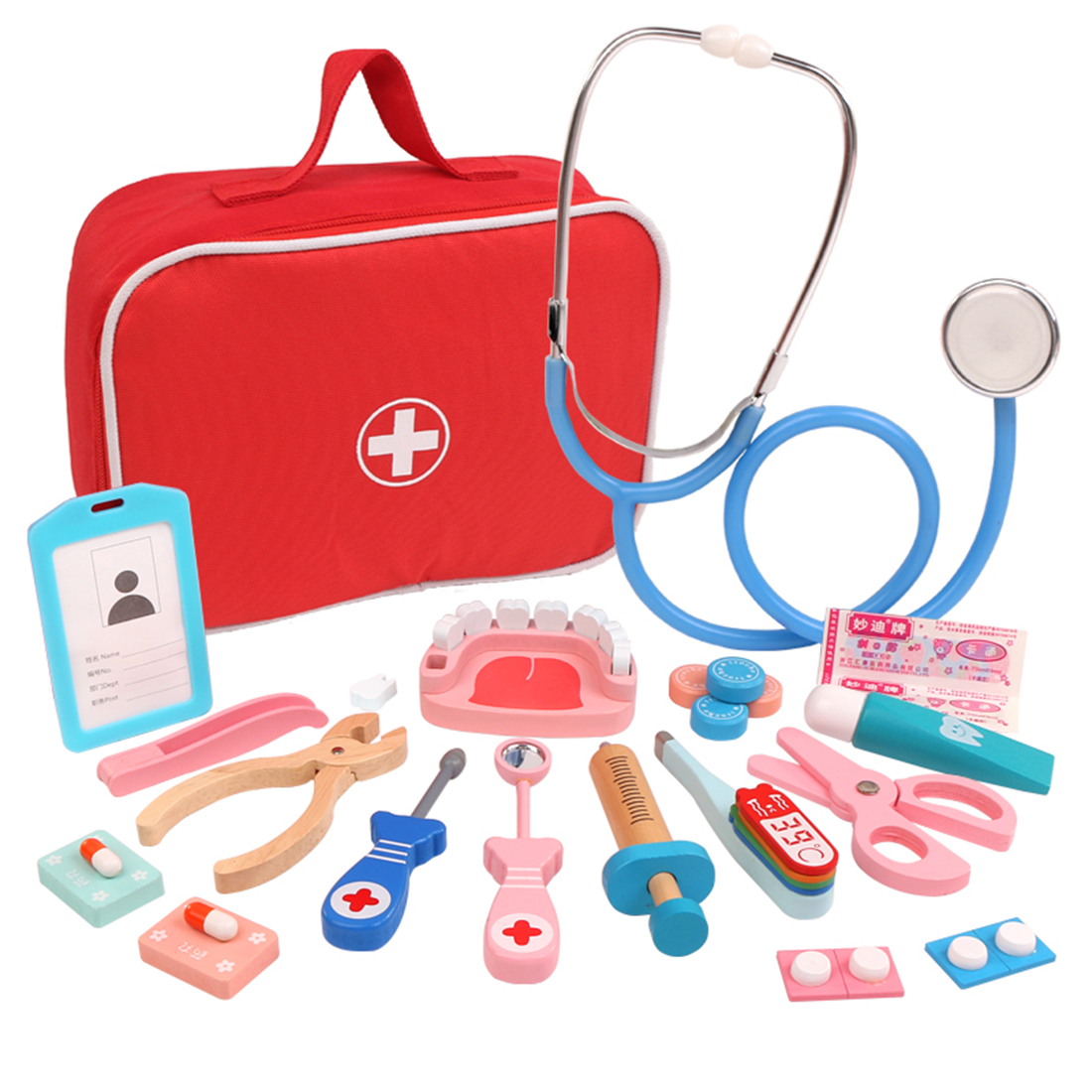 8pcs/17pcs/28Pcs Children Wooden Pretend play Dentist Toolbox Doctor toy Medical Playset with Stethoscope gifts 2019 new arrival image