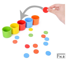 Montessori Color Classification Cup For Kids Wooden Early Educational Toy for Children